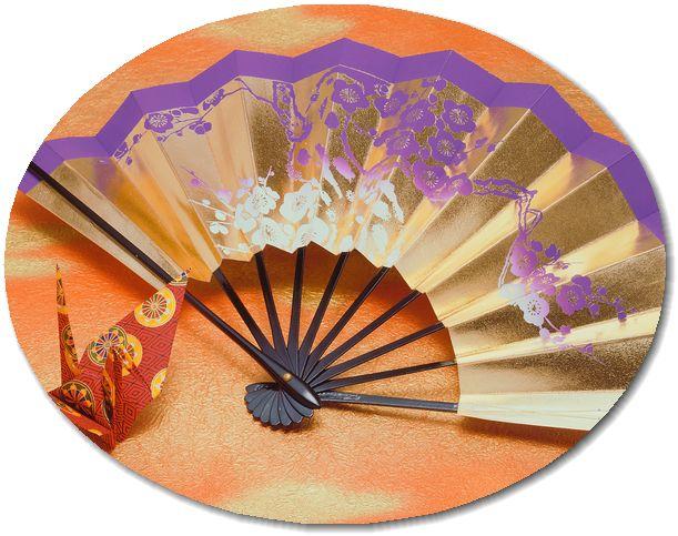 着物イメージ(扇子と折鶴)